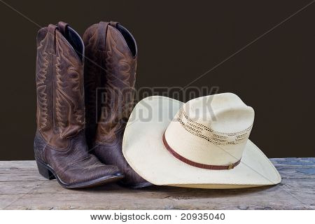 Cowboy Boots And Cowboy Hat Still Life