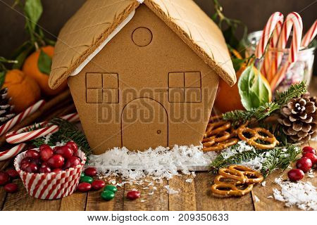 Gingerbread house ready to be decorated with candy for Christmas