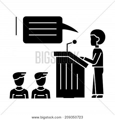 speaker presentation, podium stand icon, illustration, vector sign on isolated background