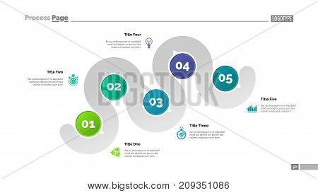 Five points process chart slide template. Business data. Step, infochart, design. Creative concept for infographic, presentation, report. Can be used for topics like management, recruitment, research.