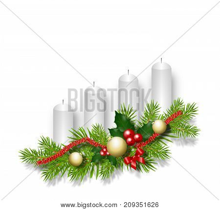 Illustration of four white candle decorated with needle and ornaments