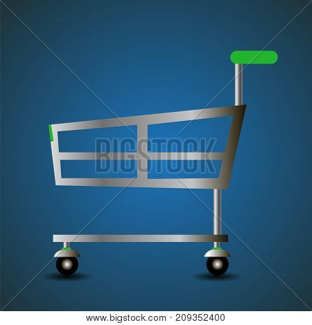 shopping basket icon isolated on blue striped background