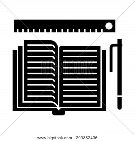 studing - open book, pen, ruler icon, illustration, vector sign on isolated background