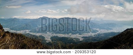 A panoramic view from the top of the the mountains next to Mt. Fuji in Japan.
