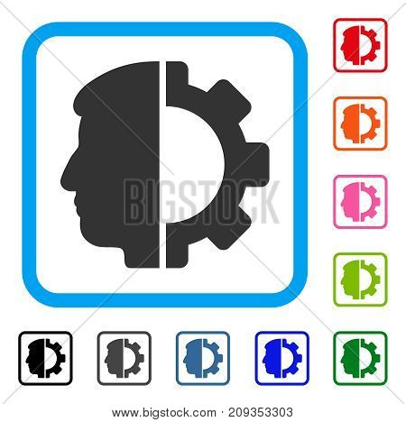 Android Head icon. Flat grey pictogram symbol inside a light blue rounded frame. Black, gray, green, blue, red, orange color variants of Android Head vector.