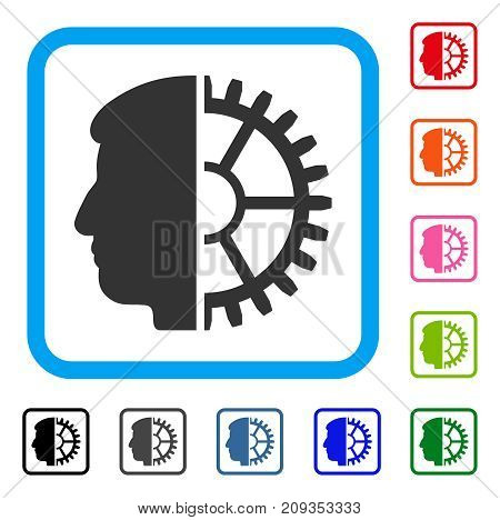 Android Head icon. Flat gray iconic symbol inside a light blue rounded rectangle. Black, gray, green, blue, red, orange color additional versions of Android Head vector.