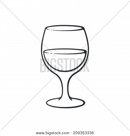 Vector illustration. Hand drawn doodle of a glass with wine. Glass goblet of alcohol drink. Cartoon sketch. Isolated on white background