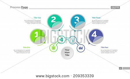 Four circles process chart slide template. Business data. Structure, diagram, design. Creative concept for infographic, presentation, report. Can be used for topics like marketing, recruitment, analytics.