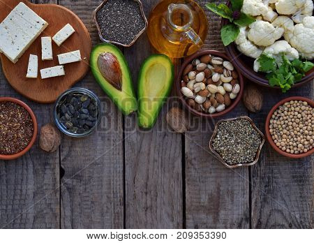 Composition Of Vegetarian Products Containing Unsaturated Fatty Acids Omega 3 - Nuts, Hemp, Chia, Fl