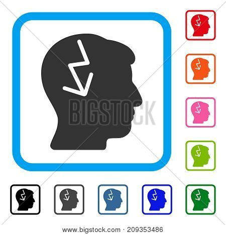 Brain Electric Strike icon. Flat gray iconic symbol inside a light blue rounded squared frame. Black, gray, green, blue, red, orange color additional versions of Brain Electric Strike vector.