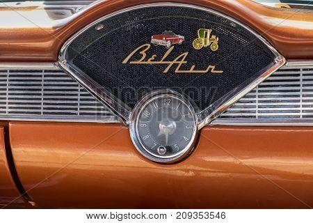 RAMAT-GAN ISRAEL - OCTOBER 6 2017: 1957 Chevrolet Bel Air emblem  presented on annual oldtimer car show, Israel