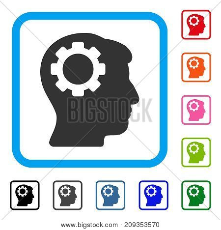Brain Gear icon. Flat grey pictogram symbol inside a light blue rounded frame. Black, gray, green, blue, red, orange color versions of Brain Gear vector. Designed for web and software interfaces.