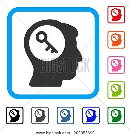 Brain Key icon. Flat grey pictogram symbol in a light blue rounded squared frame. Black, gray, green, blue, red, orange color versions of Brain Key vector. Designed for web and application interfaces.