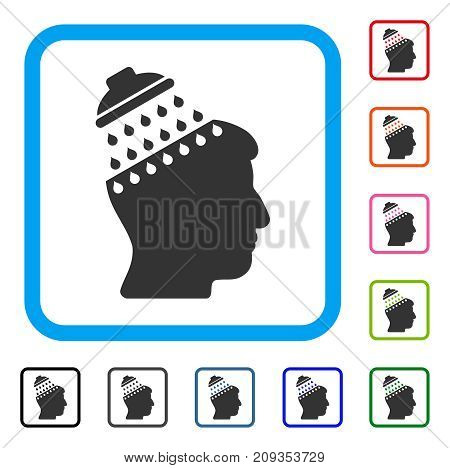 Brain Shower icon. Flat gray iconic symbol inside a light blue rounded rectangular frame. Black, gray, green, blue, red, orange color additional versions of Brain Shower vector.