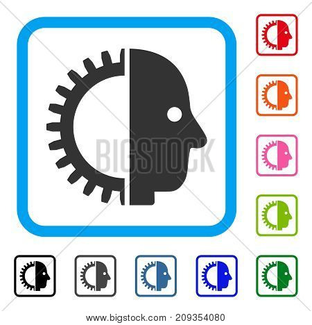 Cyborg Head icon. Flat grey pictogram symbol in a light blue rounded frame. Black, gray, green, blue, red, orange color variants of Cyborg Head vector. Designed for web and application interfaces.