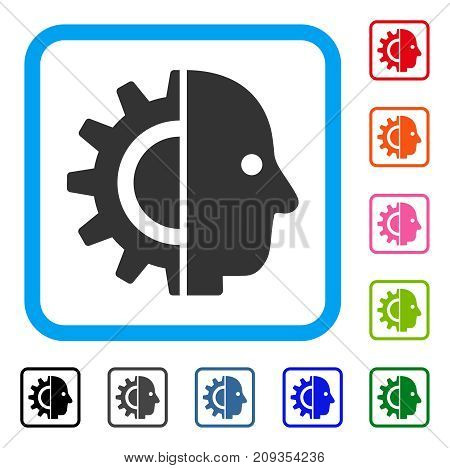 Cyborg Head icon. Flat gray pictogram symbol inside a light blue rounded frame. Black, gray, green, blue, red, orange color variants of Cyborg Head vector. Designed for web and software interfaces.
