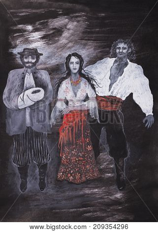 Raster illustration of gypsy and gypsy men against a dark background