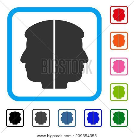 Dual Face icon. Flat grey iconic symbol in a light blue rounded rectangular frame. Black, gray, green, blue, red, orange color variants of Dual Face vector. Designed for web and app interfaces.