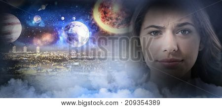 Composite image of solar system  in 3d against white background against confused female executive against white background