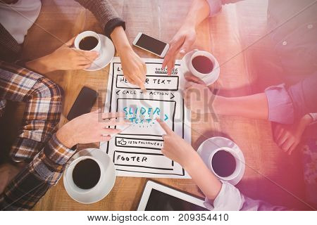 Illustration of website against friends discussing and drinking coffee