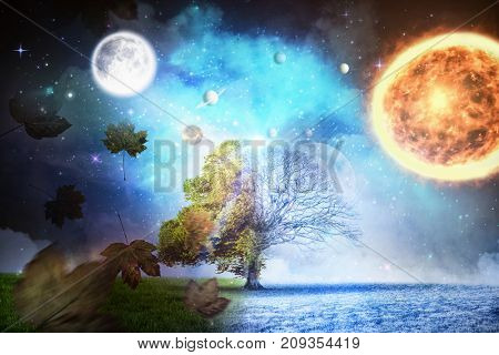 Composite image of solar system against white background against autumn turning to winter in 3d