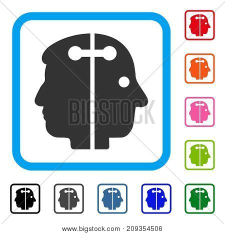 Dual Head Connection icon. Flat gray pictogram symbol inside a light blue rounded frame. Black, gray, green, blue, red, orange color versions of Dual Head Connection vector.