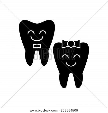 teeth care - happy tooth icon, illustration, vector sign on isolated background