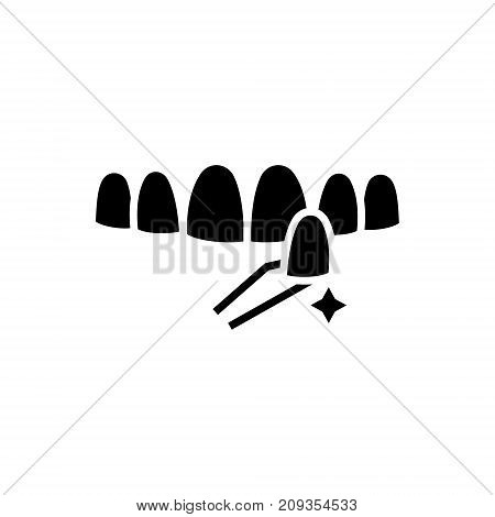 teeth false icon, illustration, vector sign on isolated background