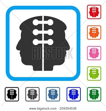 Dual Head Interface icon. Flat gray iconic symbol inside a light blue rounded rectangular frame. Black, gray, green, blue, red, orange color additional versions of Dual Head Interface vector.