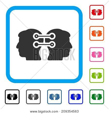 Dual Heads Interface Connection icon. Flat grey iconic symbol in a light blue rounded square. Black, gray, green, blue, red, orange color additional versions of Dual Heads Interface Connection vector.