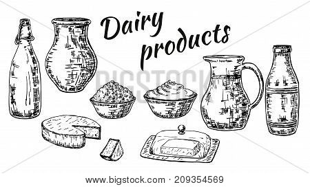 Vector ink hand drawn set of dairy products. Cheese, milk, yogurt, butter, cream and dairy products packaging vintage sketch illustration for recipe, print.