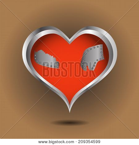 abstract creative red heart on brown background