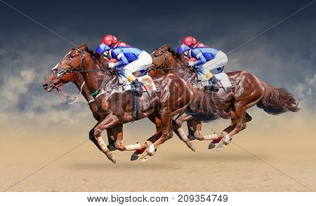 Four racing horses neck to neck in fierce competition for the finish line. Digital collage