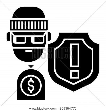 theft - thievery - Insurance against theft icon, illustration, vector sign on isolated background