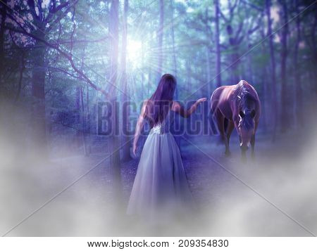 Beautiful young woman with horse in midnight forest