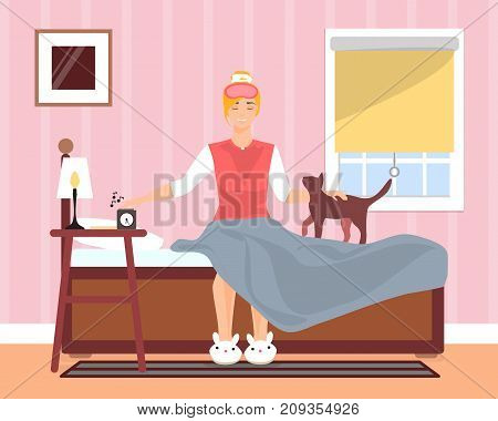 Awaking in good mood young girl vector illustration. Girl stopping alarm clock and petting her kitten while sitting in bed with eyes closed. Bedroom interior. Flat style design.