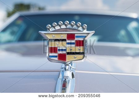Vintage Cadillac Hood Ornament On White Gray Background