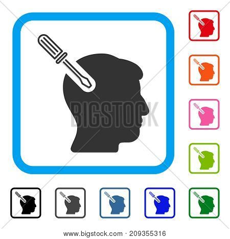 Head Surgery Screwdriver icon. Flat gray iconic symbol in a light blue rounded rectangle. Black, gray, green, blue, red, orange color additional versions of Head Surgery Screwdriver vector.