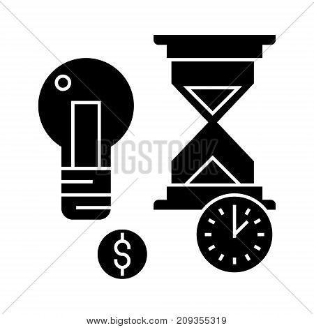 time management with hourglass icon, illustration, vector sign on isolated background