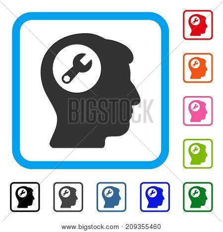 Head Wrench icon. Flat gray pictogram symbol in a light blue rounded squared frame. Black, gray, green, blue, red, orange color additional versions of Head Wrench vector.