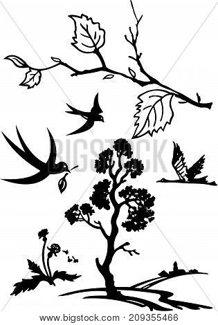 Drawing black and white nature silhouettes composition