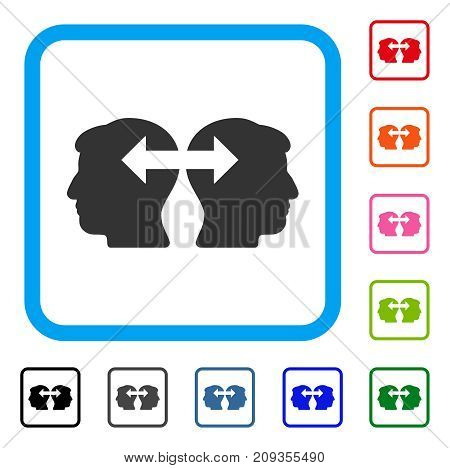 Heads Exchange Arrows icon. Flat grey pictogram symbol in a light blue rounded rectangular frame. Black, gray, green, blue, red, orange color variants of Heads Exchange Arrows vector.