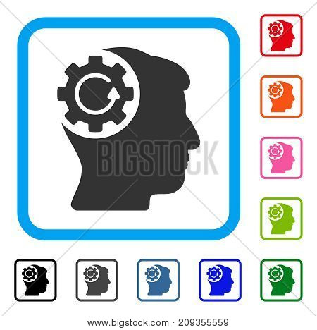 Intellect Gear Rotation icon. Flat grey iconic symbol in a light blue rounded squared frame. Black, gray, green, blue, red, orange color variants of Intellect Gear Rotation vector.
