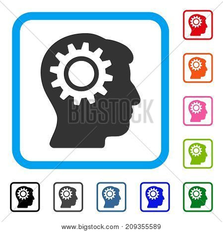 Intellect Gear icon. Flat gray iconic symbol inside a light blue rounded rectangular frame. Black, gray, green, blue, red, orange color additional versions of Intellect Gear vector.