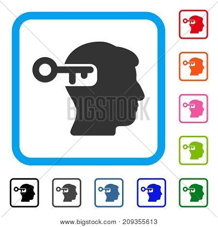 Intellect Key icon. Flat grey iconic symbol in a light blue rounded rectangular frame. Black, gray, green, blue, red, orange color versions of Intellect Key vector.