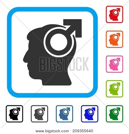 Intellect Potency icon. Flat grey iconic symbol inside a light blue rounded rectangle. Black, gray, green, blue, red, orange color additional versions of Intellect Potency vector.