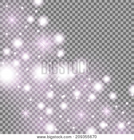 Star way with sparkles on transparent background glitter stars purple color