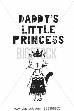 Daddy's little princess - Cute hand drawn fun nursery poster with handdrawn lettering in scandinavian style. Vector illustration.
