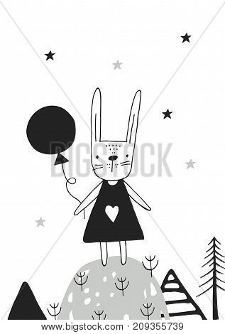 Cute hand drawn nursery poster with hare girl in scandinavian style. Monochrome vector illustration.