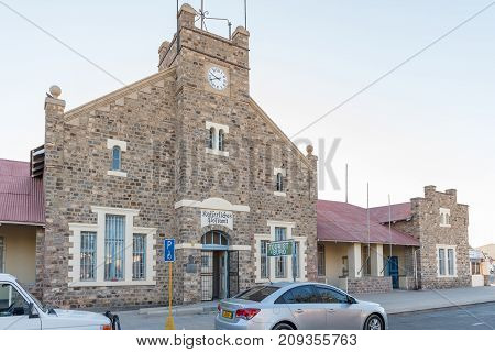 KEETMANSHOOP NAMIBIA - JUNE 13 2017: The historic Kaizerliches Postampt (post office) now a tourist bureau in Keetmanshoop the capital town of the Karas Region of Namibia